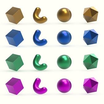 Objets de formes géométriques en métal coloré 3d réalistes.