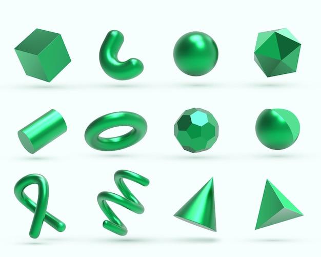 Objets de formes géométriques en métal vert 3d réalistes.