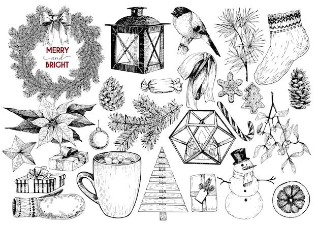 Objets gravés de noël. branche de sapin, lanterne, poinsettia, gui, biscuit, cône, bonhomme de neige, tasse, bonbon, gant, cadeau, boule.