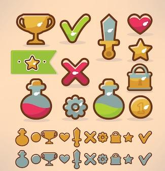 Objets et icônes d'éléments de conception de jeu