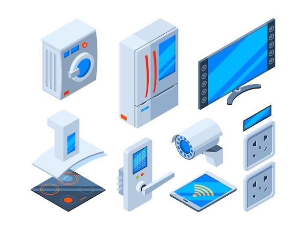 Objets internet intelligents. appareils ménagers haut-parleurs horloges contrôle micro-ondes technologies futures objets web isométrique