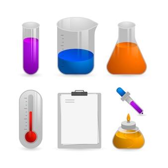 Objets isolés du laboratoire scientifique sur fond d'écran blanc