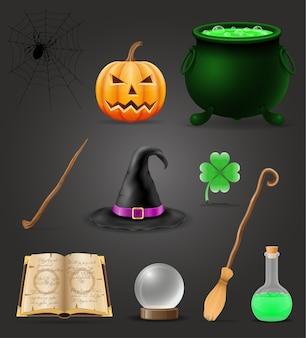 Objets magiques pour illustration de sorcière sorcellerie isolé sur fond noir