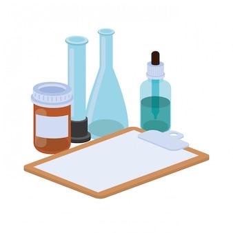 Objets de médecine sur blanc