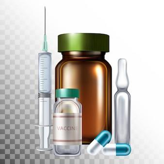 Objets médicaux réalistes de vecteur, maquette de produits pharmaceutiques.