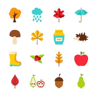 Objets plats d'automne. illustration vectorielle. ensemble saisonnier d'automne d'articles isolés sur blanc.