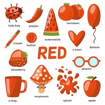 Objets rouges et mots de vocabulaire