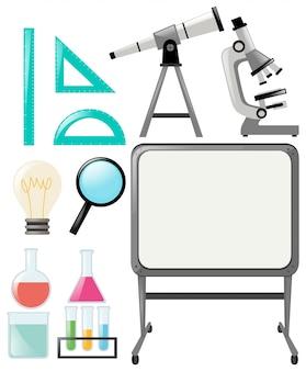 Objets scientifiques et tableau blanc