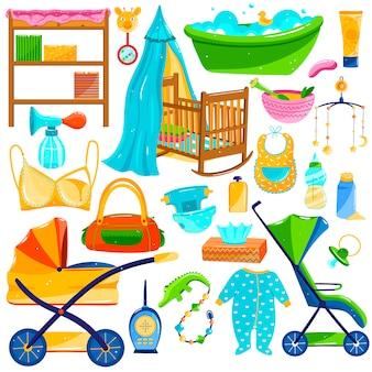 Objets de soins pour bébés, fournitures d'articles pour nouveau-nés, ensemble d'icônes sur blanc, illustration