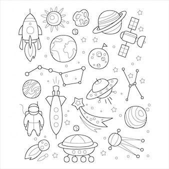 Objets spatiaux dans un style dessiné à la main.