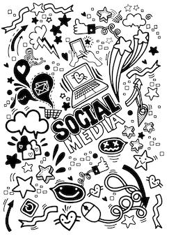 Objets et symboles sur l'élément médias sociaux