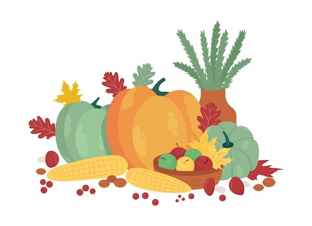 Objets vectoriels semi-plats de récolte d'automne