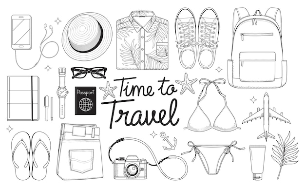 Objets de voyage sur style plat isolé sur blanc