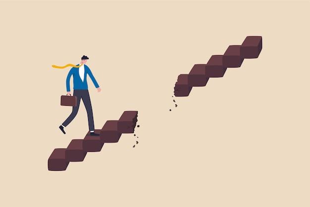Obstacle de chemin de carrière, problème commercial ou concept de risque.