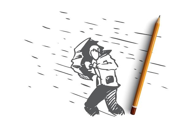 Obstacles, difficultés, concept de problèmes. main dessinée homme avec parapluie et pluie comme symbole de l'esquisse de concept de difficultés.
