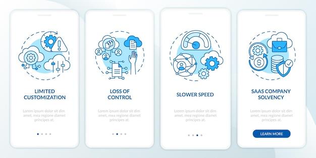 Obstacles saas sur l'écran de la page de l'application mobile d'intégration avec des concepts. paramètres limités, procédure pas à pas à vitesse plus lente, instructions graphiques en 4 étapes. modèle d'interface utilisateur avec illustrations en couleurs rvb