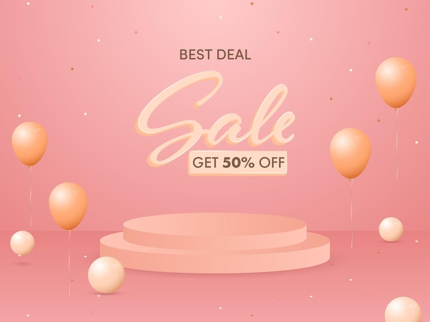 Obtenez 50% de réduction sur la conception d'affiches de vente avec la meilleure offre avec podium ou scène 3d et ballons.