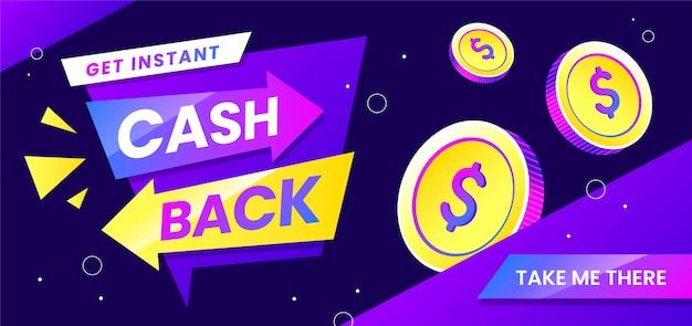 Obtenez une bannière de pièces de monnaie cashback instantanée