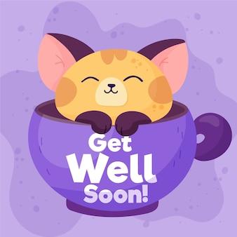 Obtenez bien bientôt avec un chat mignon