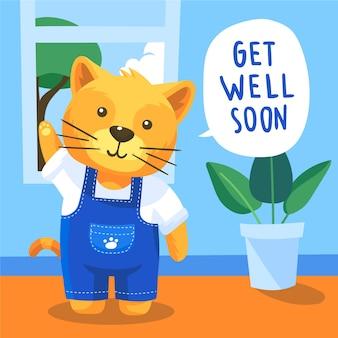 Obtenez bien bientôt un message avec un chat mignon