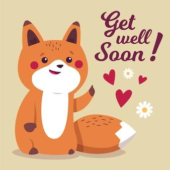 Obtenez bien bientôt un message avec un renard mignon