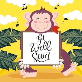 Obtenez bien bientôt un message avec un singe mignon illustré