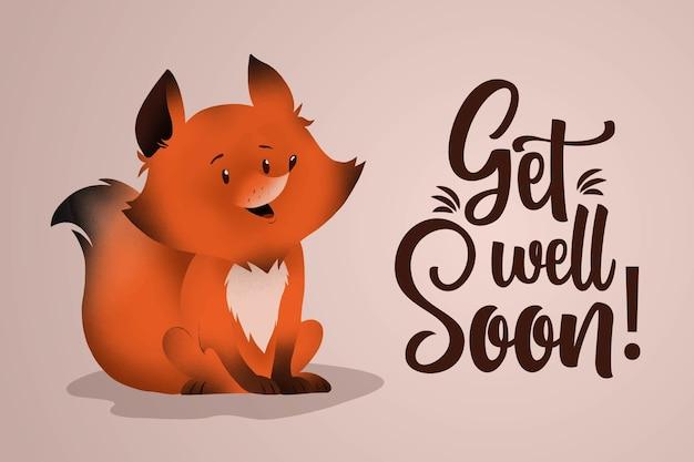 Obtenez bien bientôt avec renard mignon