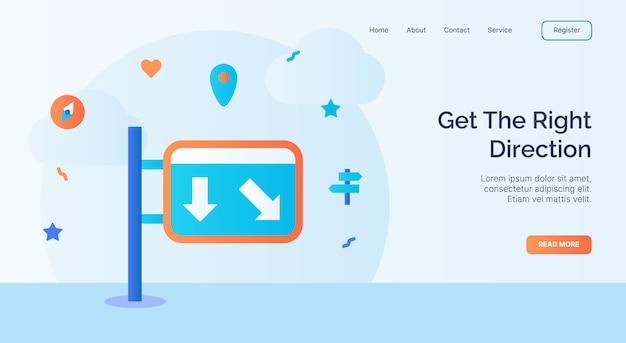 Obtenez la bonne campagne d'icône de panneau de signalisation de direction pour la bannière de modèle d'atterrissage de page d'accueil de site web avec la conception de vecteur de style plat de dessin animé