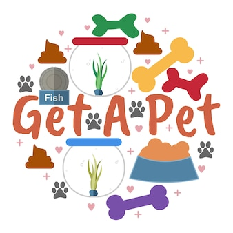Obtenez une carte de citation phrase pour animaux de compagnie typographique avec fond d'éléments de cadre décoratif