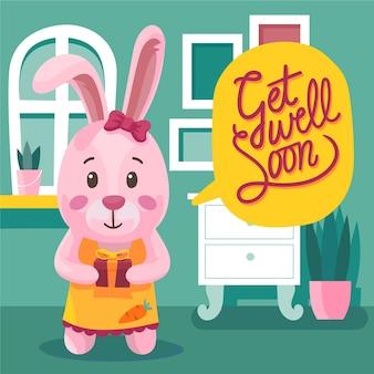 Obtenez un message de bien-être bientôt avec lapin