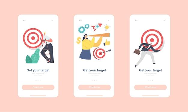 Obtenez votre modèle d'écran intégré de page d'application mobile cible. petits personnages essayant d'atteindre un objectif énorme. atteinte des objectifs commerciaux, défi et concept de solution de tâche. illustration vectorielle de gens de dessin animé