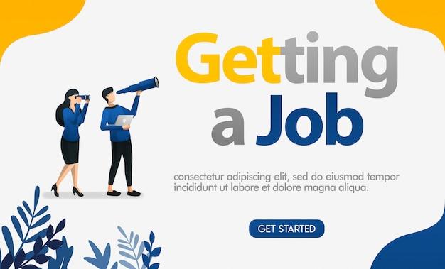 Obtenir une offre d'emploi avec des illustrations de personnes à la recherche de jumelles et de télescopes