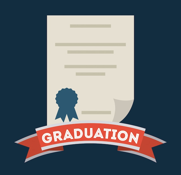 Obtention du diplôme sur fond bleu