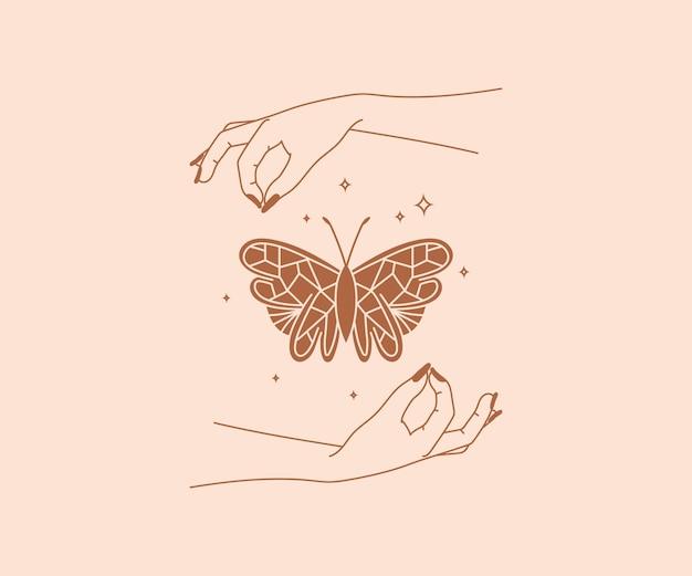 Occultisme dessiné à la main logo de mains magiques avec papillon et étoiles éléments de conception mystique ésotérique