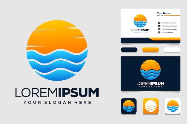 Océan abstrait avec création de logo d'été et carte de visite