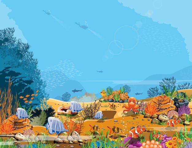 L'océan austral, tranquille l'équilibre du poisson naturel et des récifs coralliens.