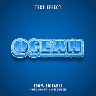 Océan bleu avec effet de texte de motif de vague