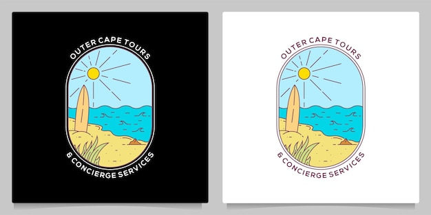 Ocean island beach monoline badge vintage logo design