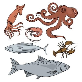 Ocean life animaux de la mer fruits de mer sains