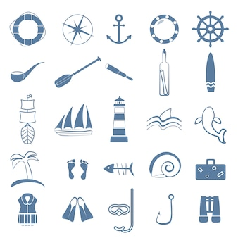 Ocean line art icon set