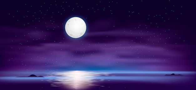 L'océan ou la mer. ciel avec nuages et reflet de la lumière à la surface de l'eau, fantaisie romantique sur le fond d'une scène naturelle. illustration de bande dessinée
