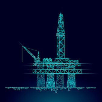 Océan pétrole gaz forage plate-forme low poly business concept. finance économie production d'essence polygonale. l'industrie pétrolière pétrolière offshore derricks ligne connexion points bleu illustration vectorielle