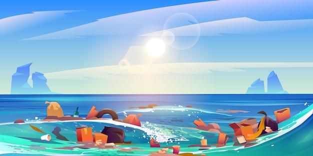 Océan de pollution par les déchets plastiques, ordures dans l'eau