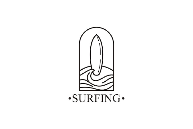 Ocean surf line art logo vector illustration design plage logo design