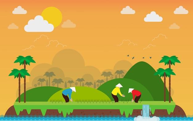 Océan tropical et agriculteur vietnamien sur l'île