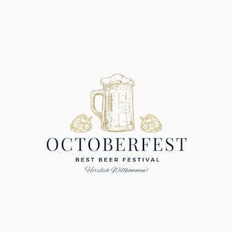 Octoberfest best beer festival abstract sign, symbole ou modèle de logo. croquis de chope de bière dessiné à la main avec houblon et typographie classique. emblème ou étiquette de bière vintage.