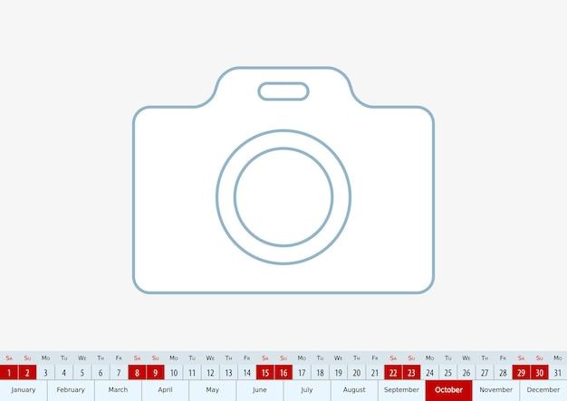 Octobre 2022 pour le calendrier de bureau. modèle vectoriel.
