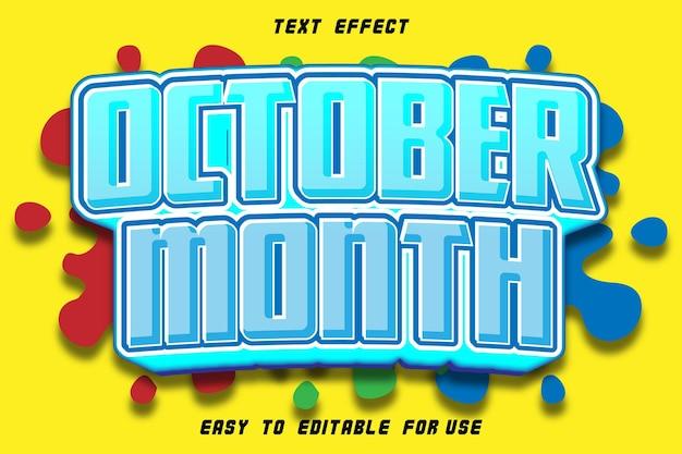 Octobre mois effet texte modifiable emboss style bande dessinée