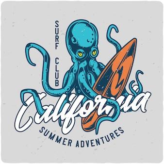 Octopus et planche de surf