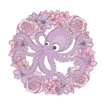Octopus wreath bouquet de fleurs de vacances